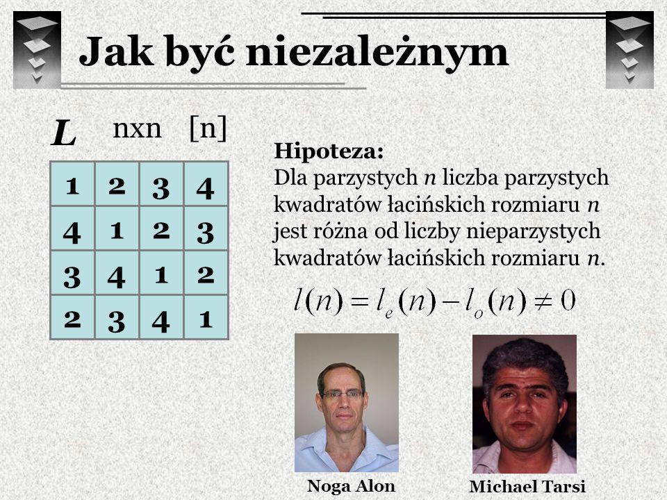 Jak być niezależnym L nxn [n] 1 2 3 4 Hipoteza: